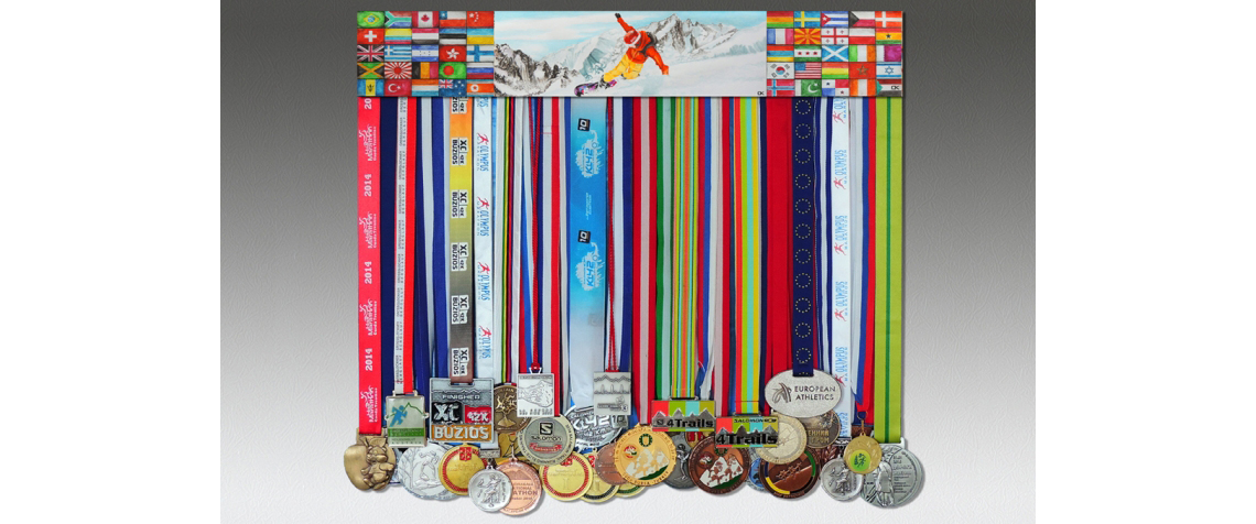 Medal display and medals, the size 60x10 cm, picture snowboarder and flags